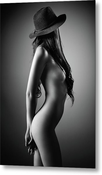 Nude Woman With A Hat Metal Print