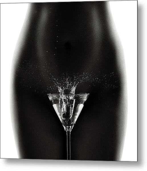 Nude Woman With Martini Splash Metal Print