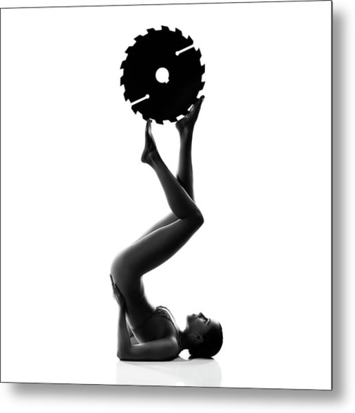 Nude Woman With Saw Blade 2 Metal Print