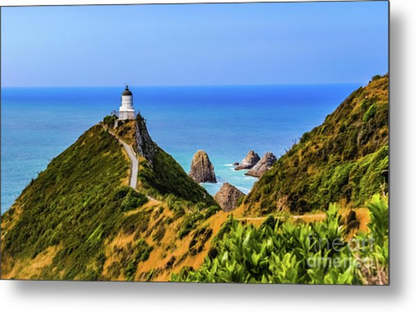Nugget Point Lighthouse, New Zealand Metal Print
