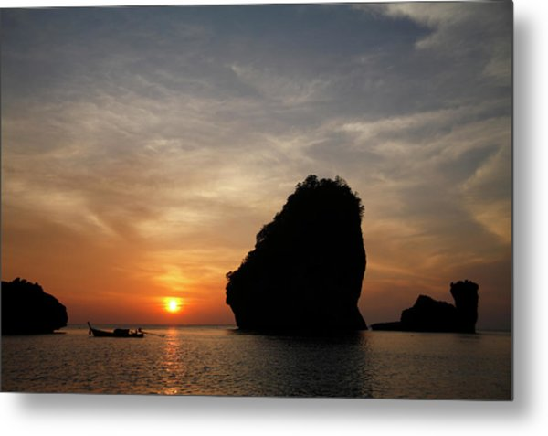 Nui Bay At Sunset At Phi Phi Islands Metal Print by Massimo Pizzotti