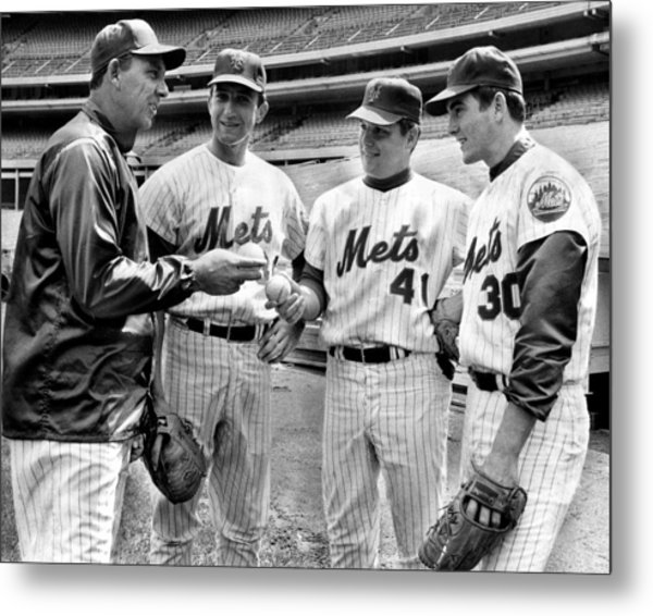 N.y. Mets Manager Gil Hodges Sports A Metal Print by New York Daily News Archive
