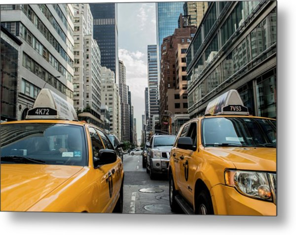 Ny Taxis Metal Print