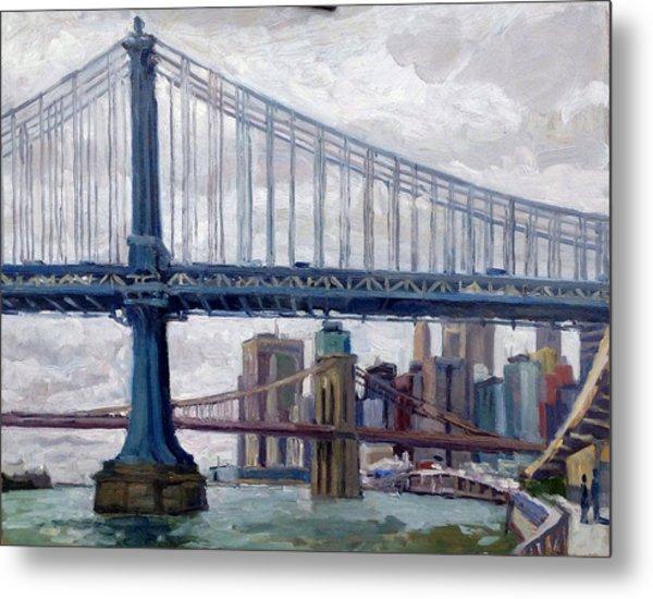 Nyc Grey And Blue Manhattan Bridge Metal Print