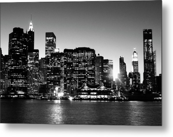 Nyc Skyline At Sunset Metal Print by Lisa-blue
