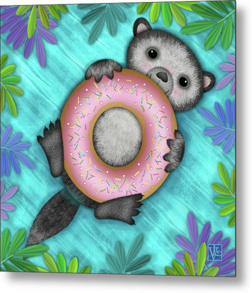 O Is For Otter With An O So Delicious Doughnut Metal Print