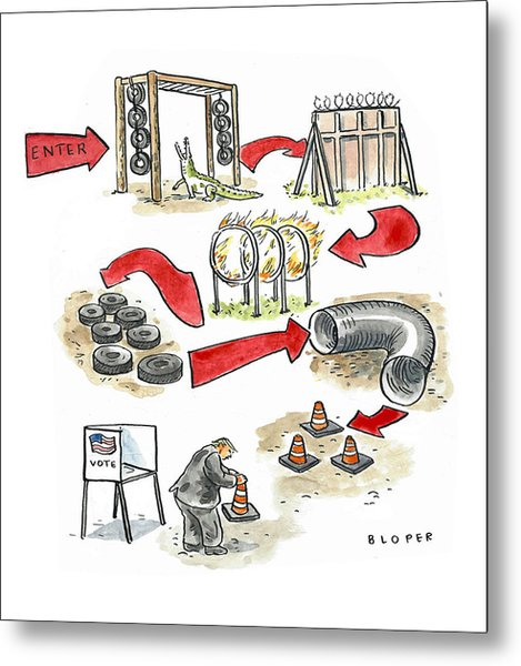 Obstacle Course To The Voting Booth Metal Print