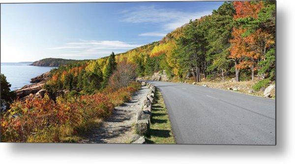 Ocean Drive Road Panorama, Acadia Metal Print by Picturelake