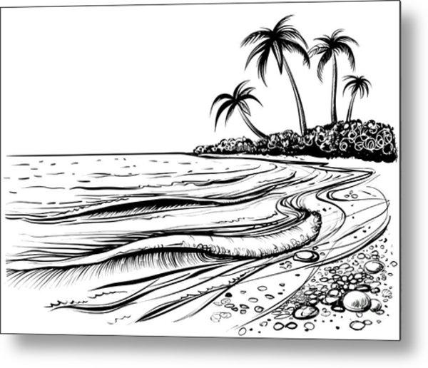 Ocean Or Sea Beach With Waves, Sketch Metal Print