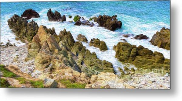 Metal Print featuring the digital art Ocean Rocks In Puerto Vallarta Mexico by Kenneth Montgomery