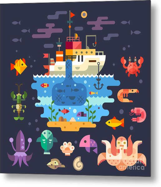 Ocean Underwater Life, Sea Animals Metal Print