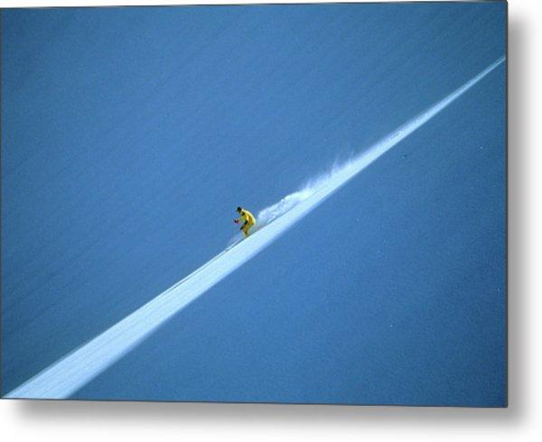 Off-piste Skier On Untouched Snow Field Metal Print