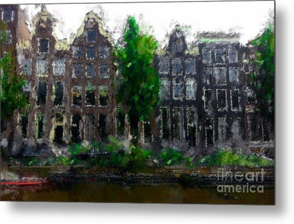 Oil Paint Effected Amsterdam Houses Metal Print