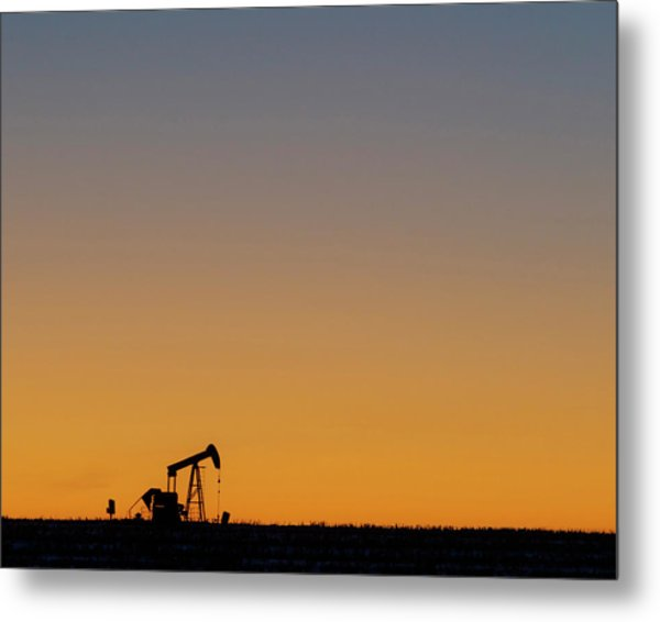 Metal Print featuring the photograph Oil Pump After Sunset 02 by Rob Graham