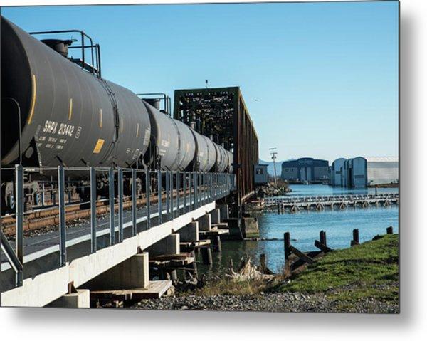 Oil Train Over Swinomish Channel Metal Print