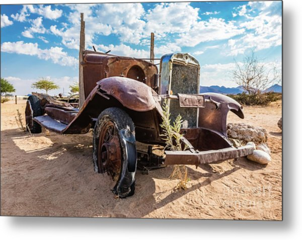 Old And Abandoned Car 3 In Solitaire, Namibia Metal Print