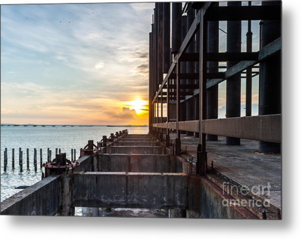 Old Architecture In Sunset, Abstract Metal Print