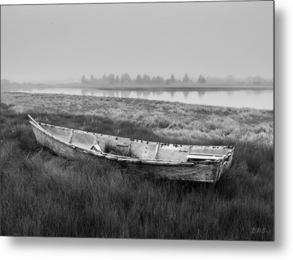 Old Boat In Tidal Marsh Metal Print