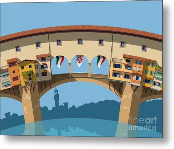 Old Bridge In Florence Flat Illustration Metal Print