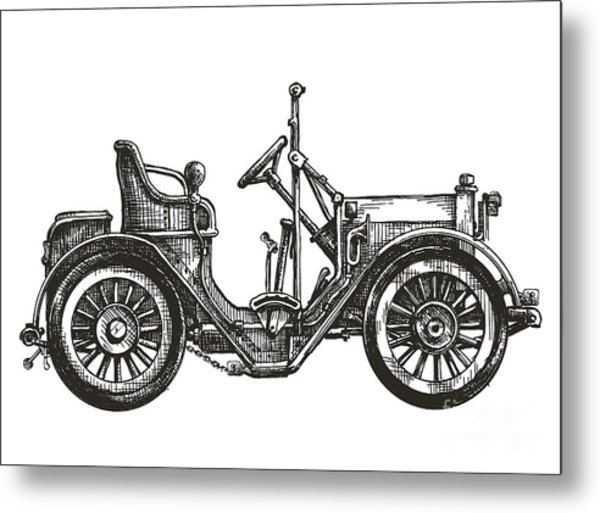 Old Car On A White Background. Sketch Metal Print