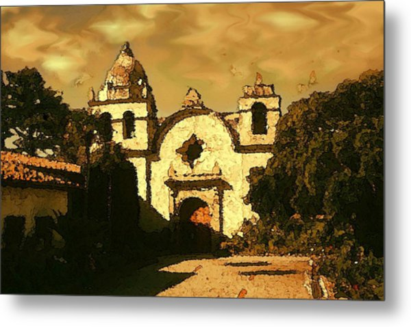 Old Carmel Mission - Watercolor Painting Metal Print