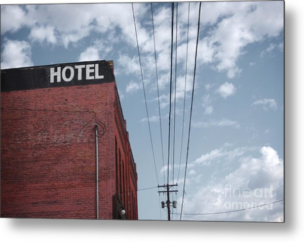Old Dilapidated Brick Motel With Cloudy Metal Print