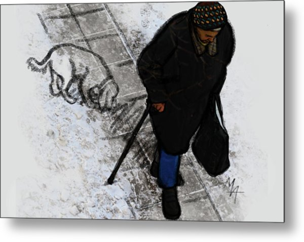 Metal Print featuring the digital art Old Lady With A Dog by Attila Meszlenyi