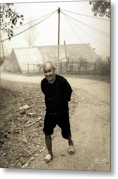 Old Man On Sapa Road, Vietnam Metal Print