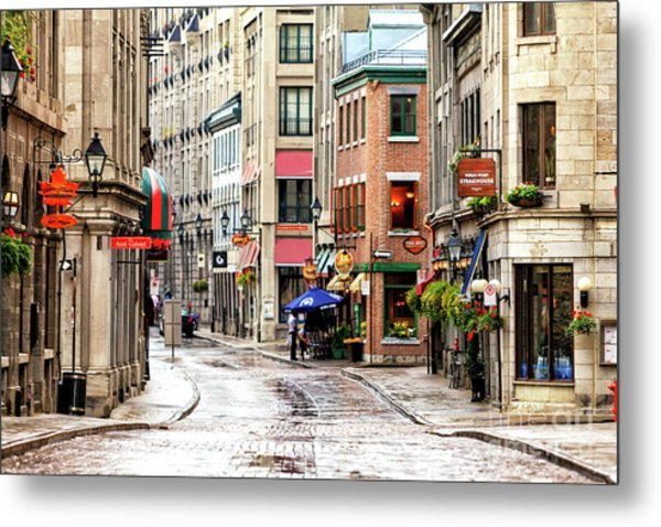 Old Montreal Morning Street Scene 2010 Metal Print
