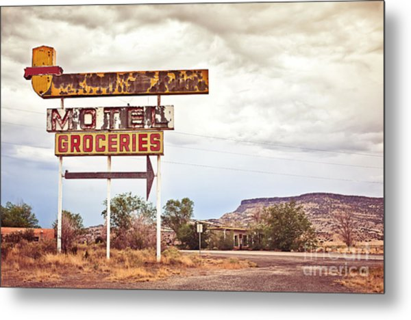 Old Motel Sign On Route 66, Usa Metal Print