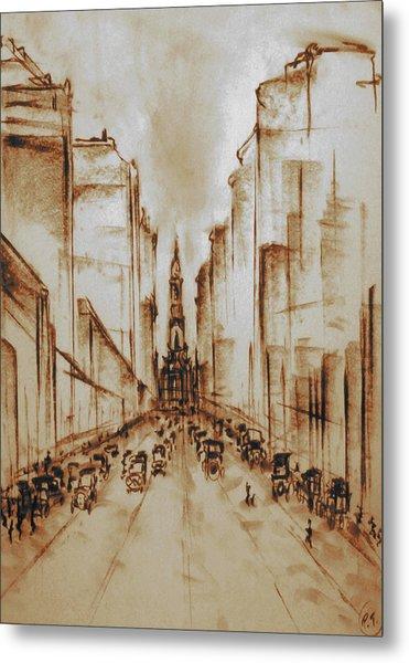 Old Philadelphia City Hall 1920 - Pencil Drawing Metal Print