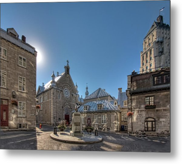 Old Quebec City Square Metal Print
