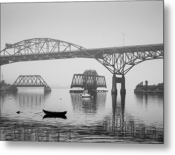 Metal Print featuring the photograph Old Sakonnet River Bridge IIi Bw by David Gordon