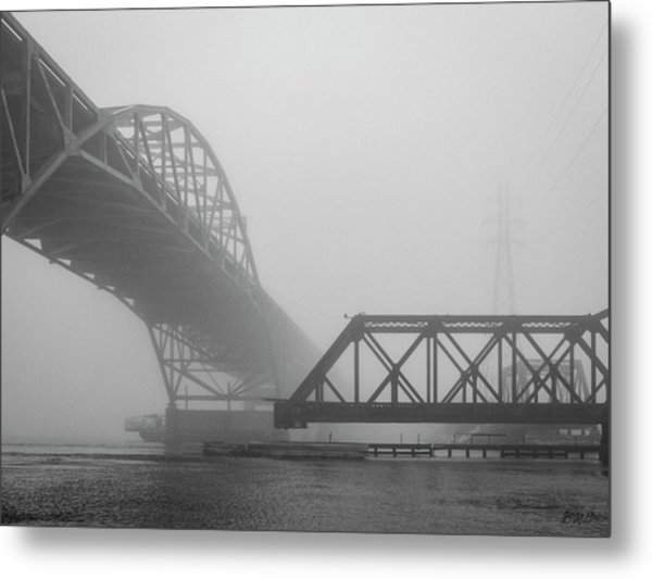 Metal Print featuring the photograph Old Sakonnet River Bridge V Bw by David Gordon