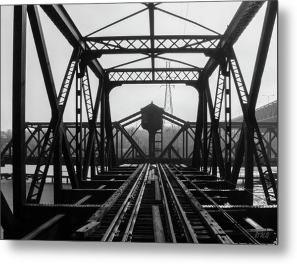 Metal Print featuring the photograph Old Sakonnet River Railroad Bridge Bw by David Gordon