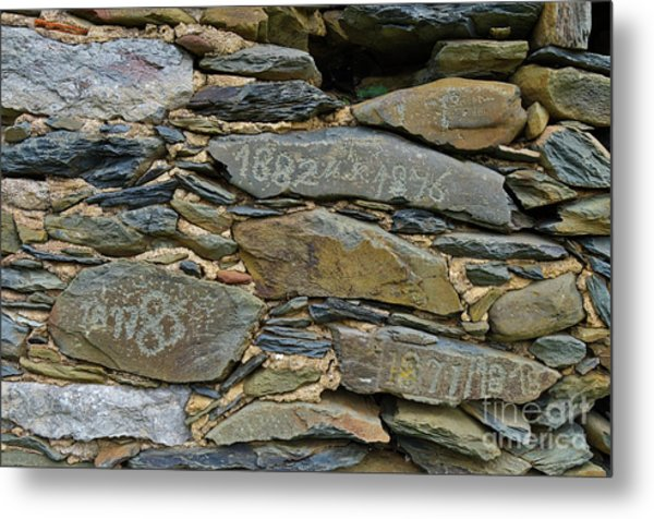 Old Schist Wall With Several Dates From 19th Century. Portugal Metal Print