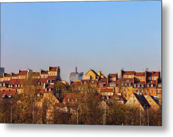 Old Town Houses In City Of Warsaw Metal Print