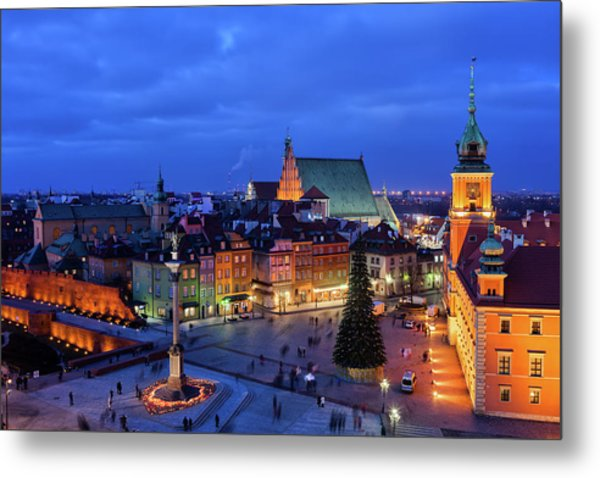 Old Town In City Of Warsaw At Night Metal Print
