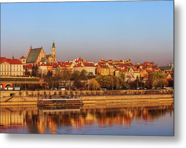 Old Town In City Of Warsaw At Sunrise Metal Print
