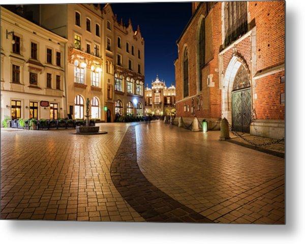 Old Town In Krakow At Night Metal Print