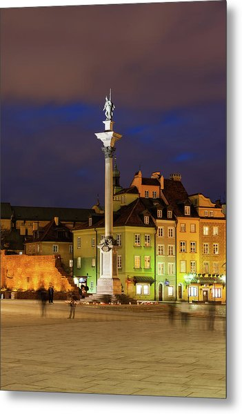 Old Town In Warsaw By Night Metal Print