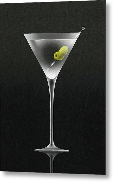 Olives In Martini Cocktail Glass Metal Print