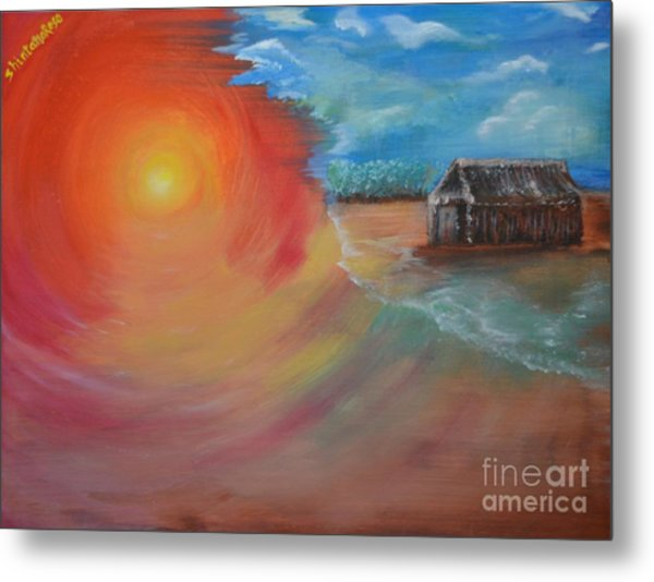 Metal Print featuring the painting On The Edge by Sabine ShintaraRose