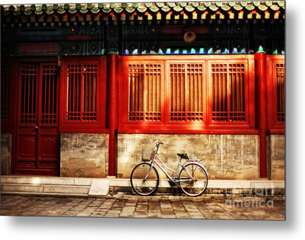 One Bicycle In Front Of Oriental Red Metal Print