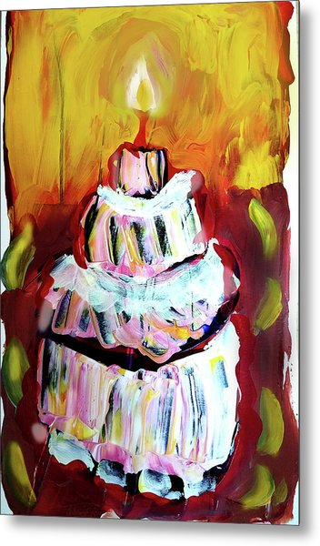 One Candle Metal Print