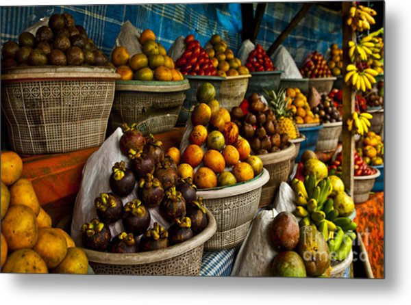 Open Air Fruit Market In The Village Metal Print