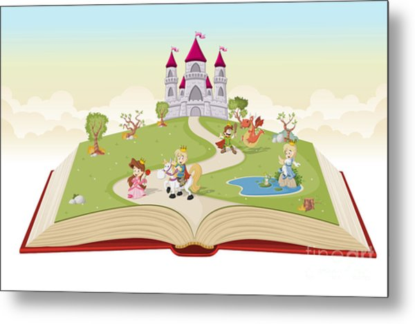 Open Book With Cartoon Princesses And Metal Print