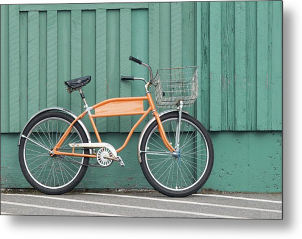 Orange Bike Metal Print by Tbd