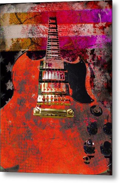 Orange Electric Guitar And American Flag Metal Print