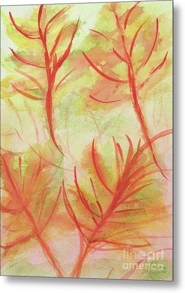 Orange Fanciful Leaves Metal Print